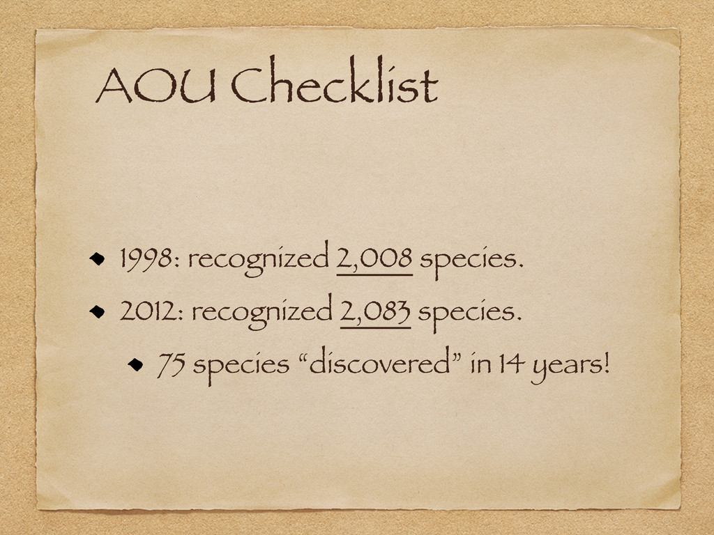 AOU Checklist 1998: recognized 2,008 species. 2...