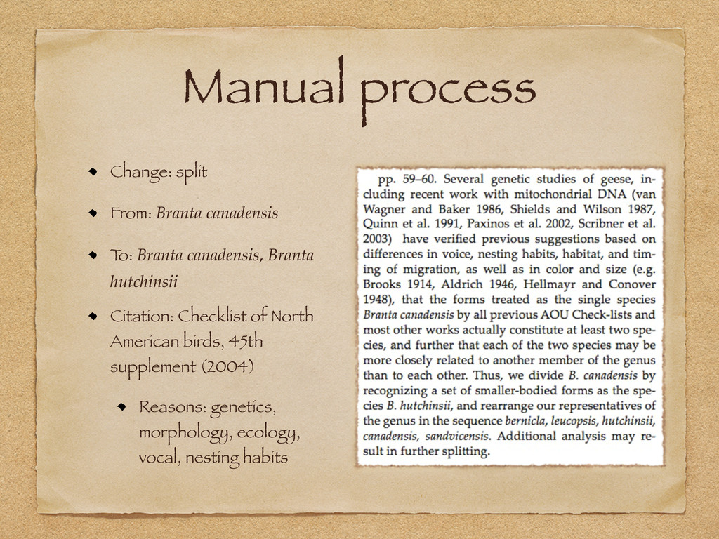 Manual process Change: split From: Branta canad...