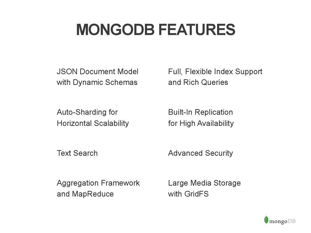 MONGODB FEATURES JSON Document Model with Dynam...