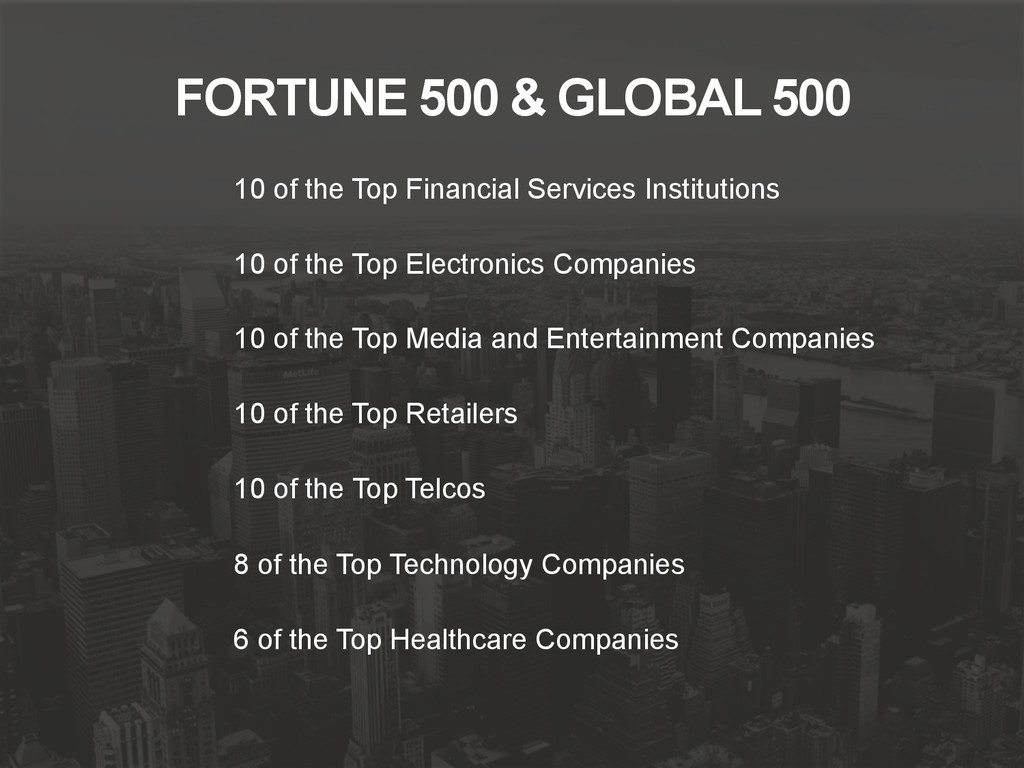 FORTUNE 500 & GLOBAL 500 10 of the Top Financia...