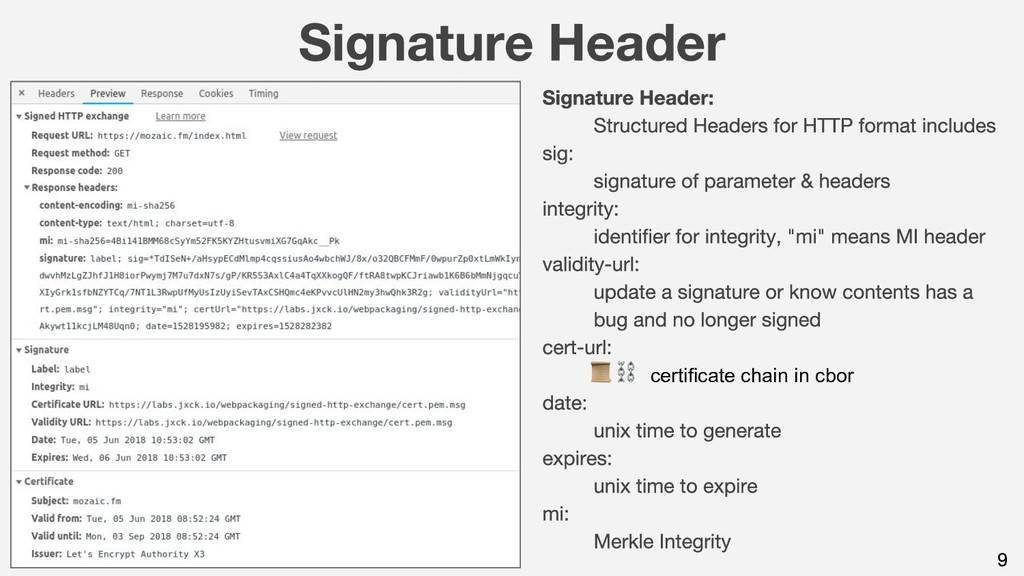 ⛓ + certificate chain in cbor