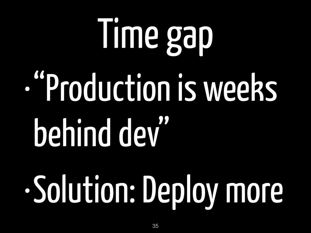 """Time gap •""""Production is weeks behind dev"""" •Sol..."""