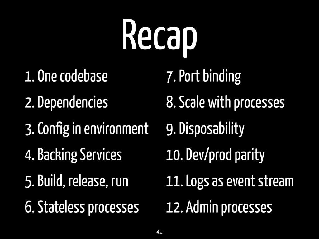 Recap 1. One codebase 2. Dependencies 3. Config...