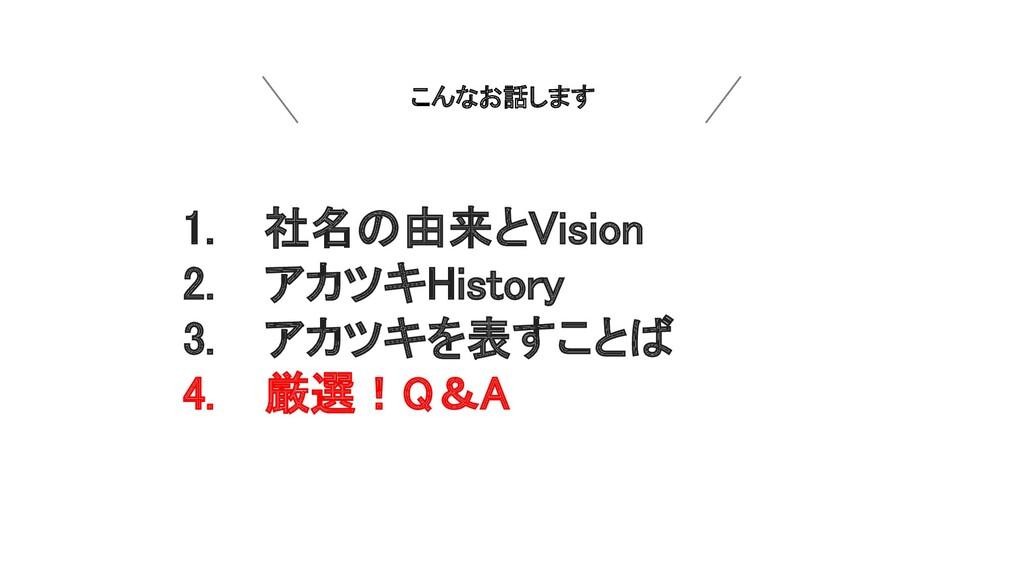 こんなお話します 1.  社名の由来とVision 2.  アカツキHistory 3. ...