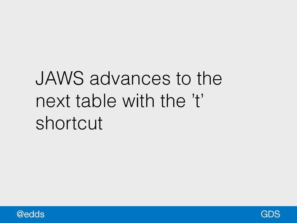 JAWS advances to the next table with the 't' sh...