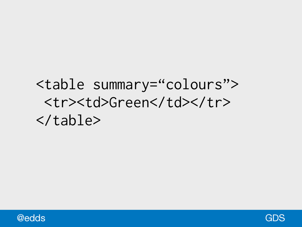 "<table summary=""colours""> <tr><td>Green</td></t..."