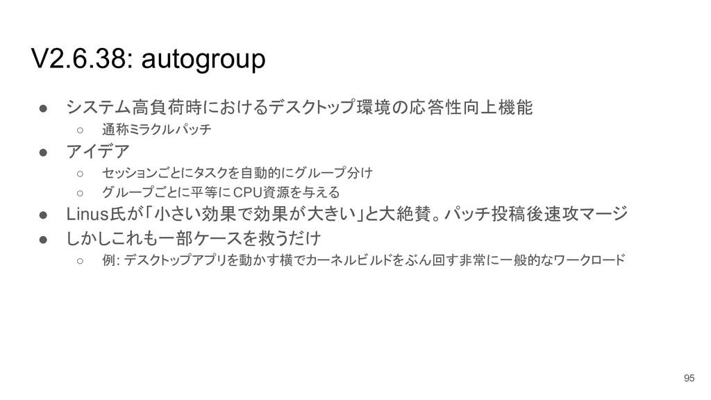 V2.6.38: autogroup ● システム高負荷時におけるデスクトップ環境の応答性向上...