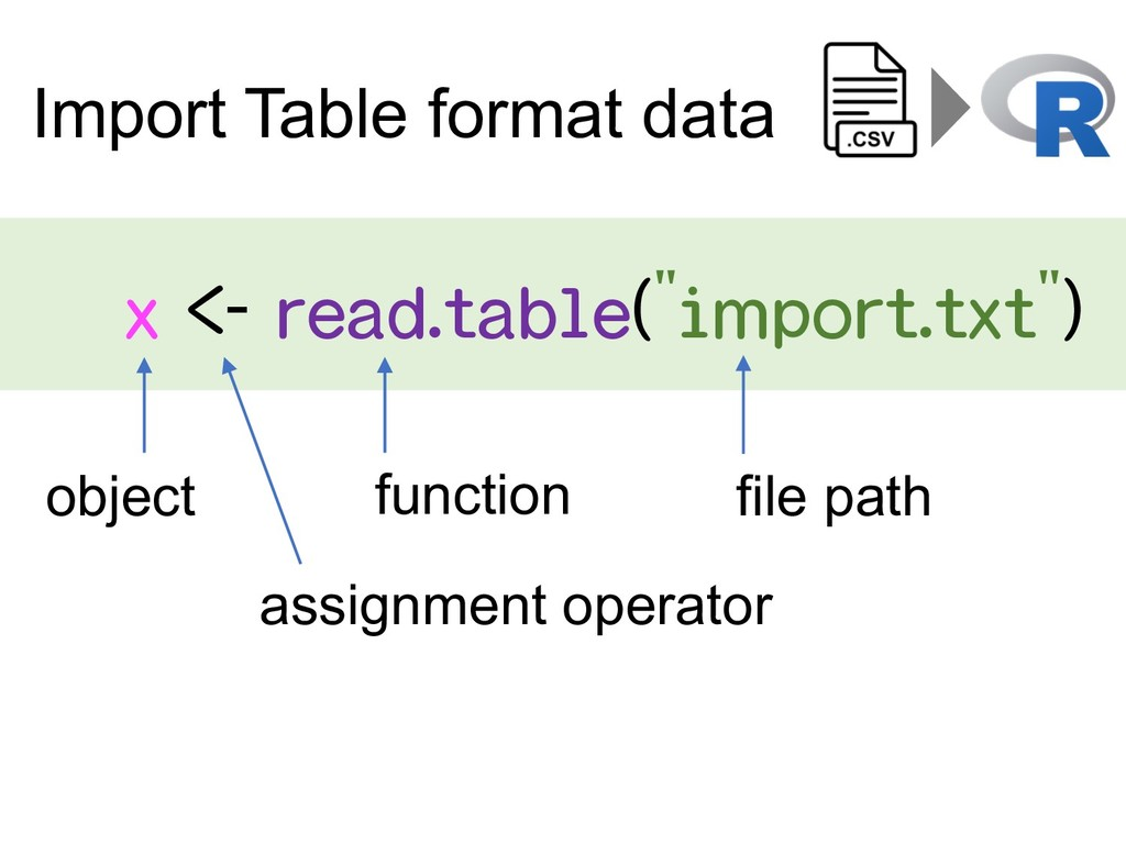 "x <- read.table(""import.txt"") Import Table form..."