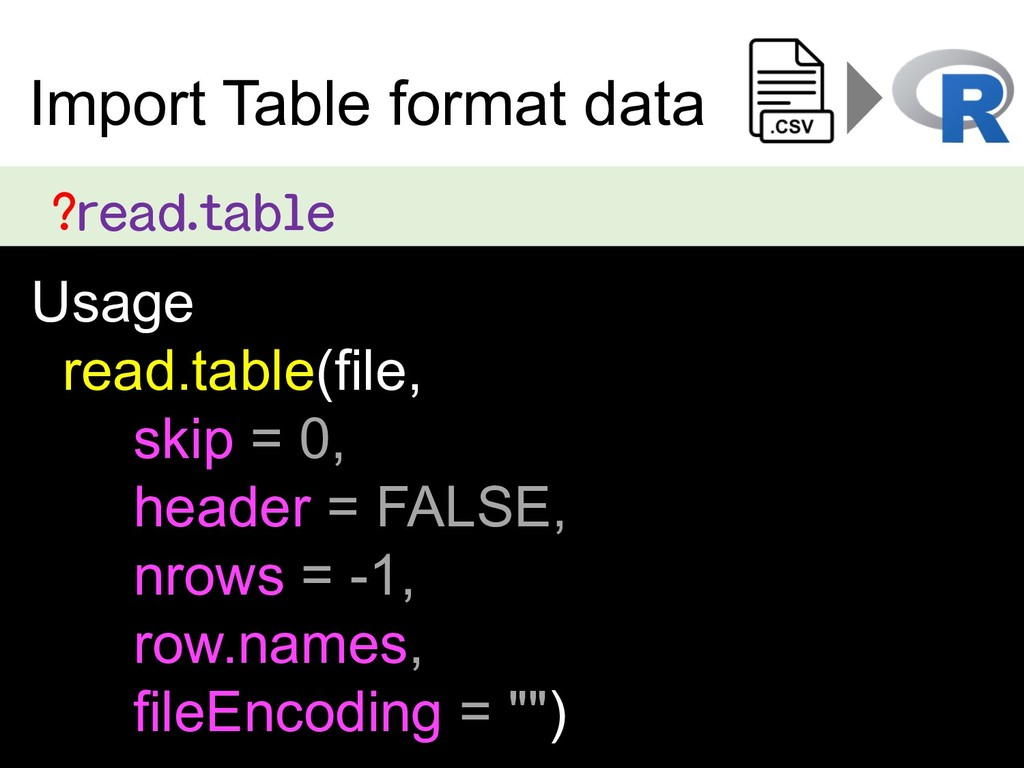 ?read.table Usage read.table(file, skip = 0, he...