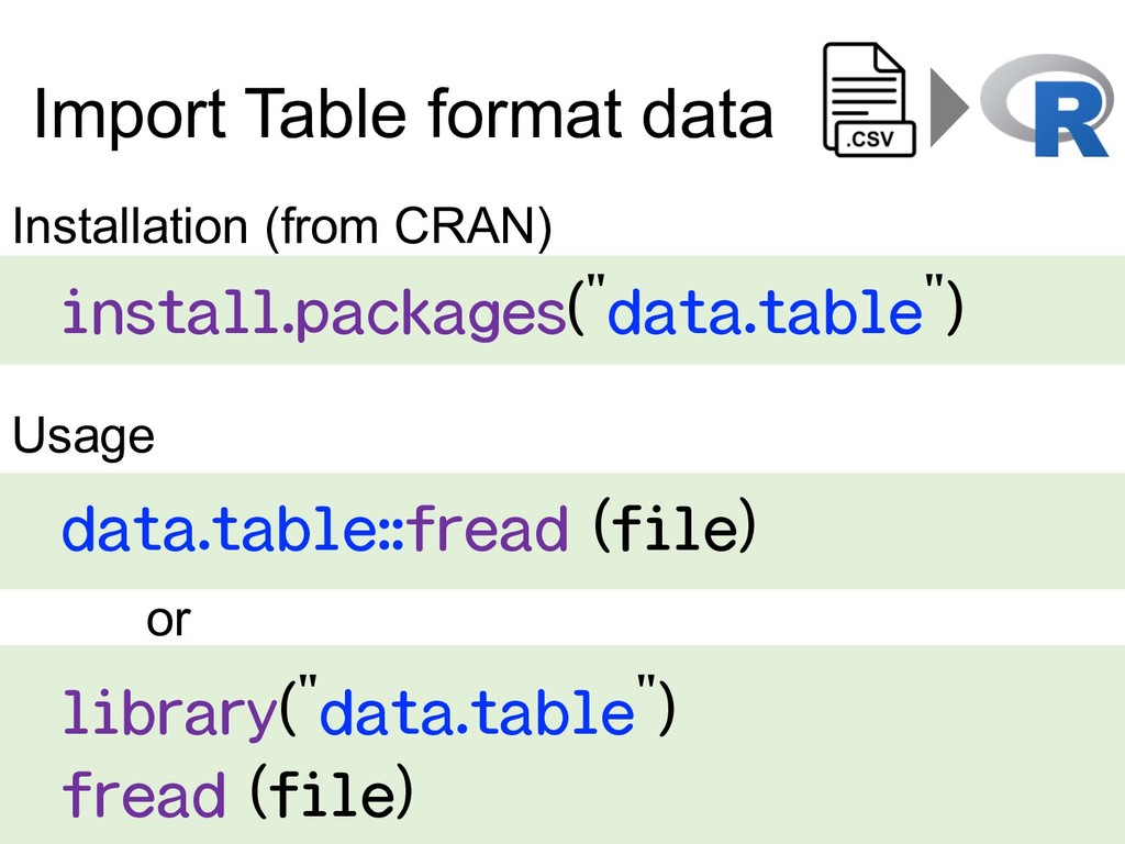 Import Table format data data.table::fread (fil...