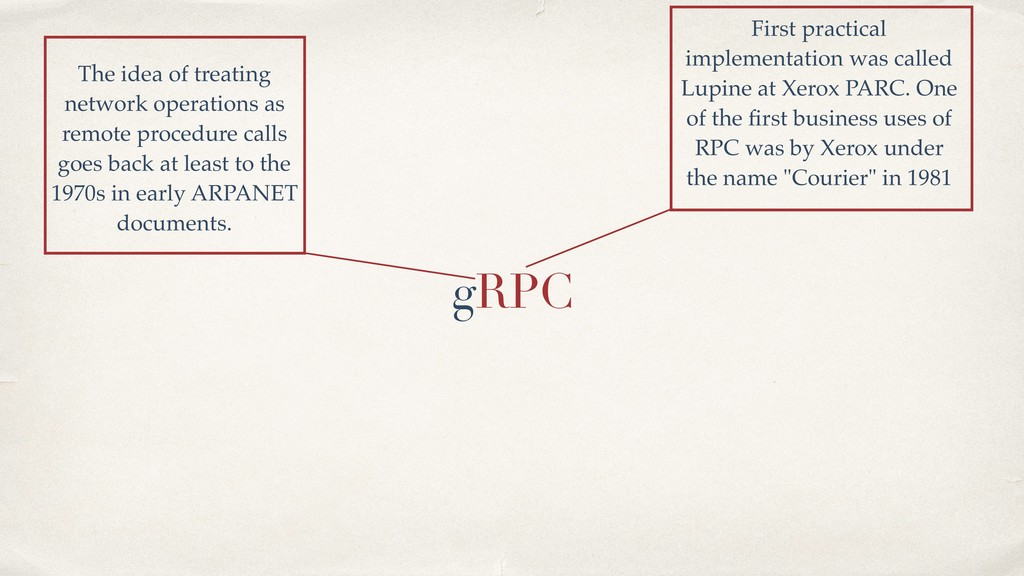 gRPC The idea of treating network operations as...