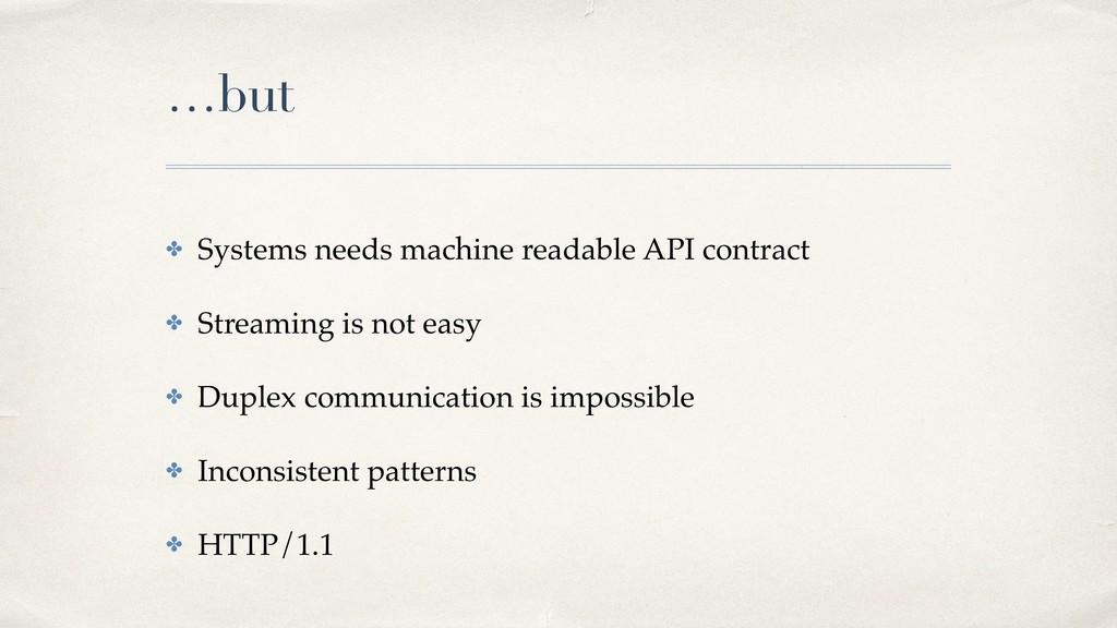 …but ✤ Systems needs machine readable API contr...
