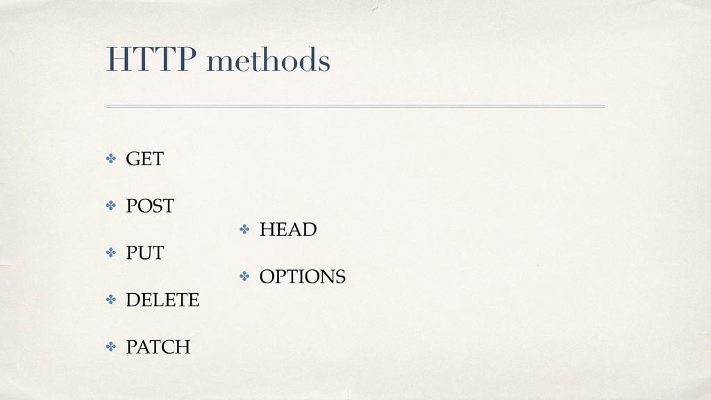 HTTP methods ✤ GET ✤ POST ✤ PUT ✤ DELETE ✤ PATC...