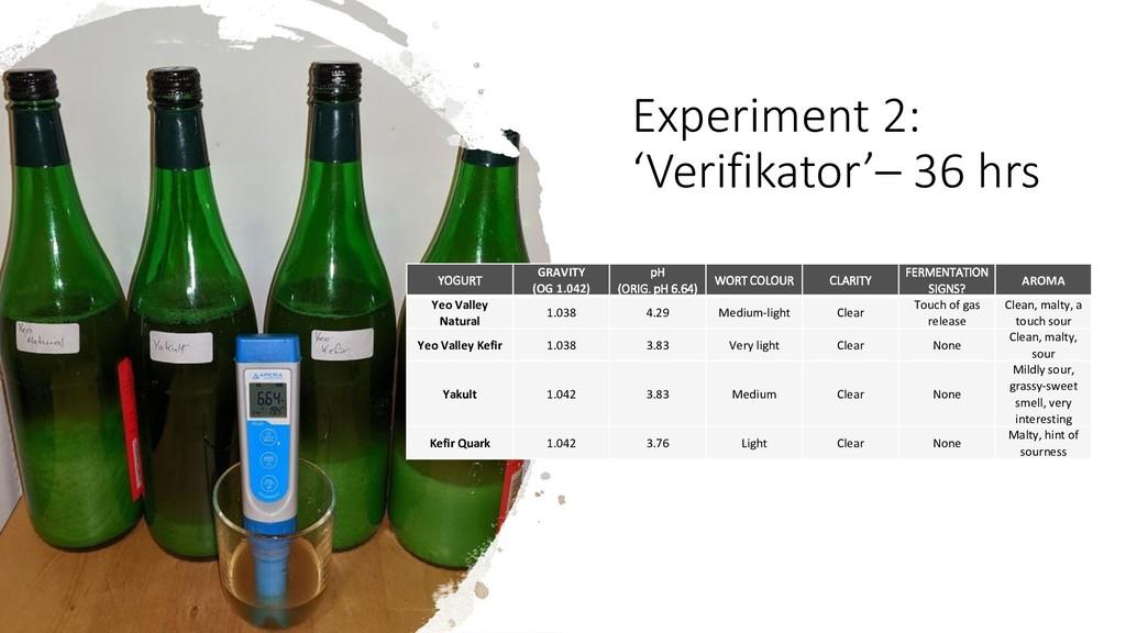 Experiment 2: 'Verifikator'– 36 hrs YOGURT GRAV...