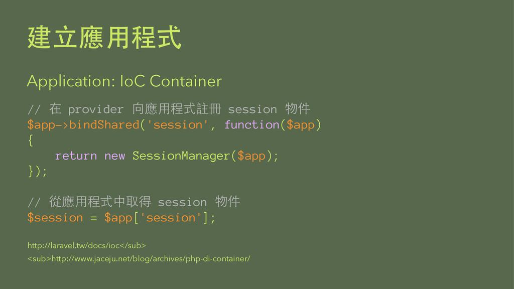 Application: IoC Container //  provider...