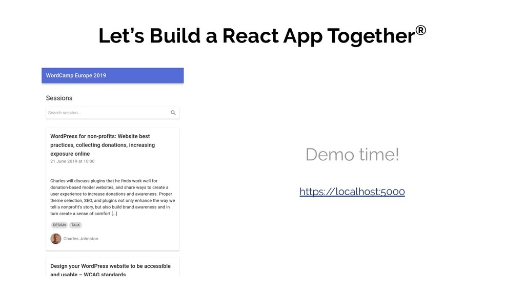 Let's Build a React App Together® Demo time! ht...
