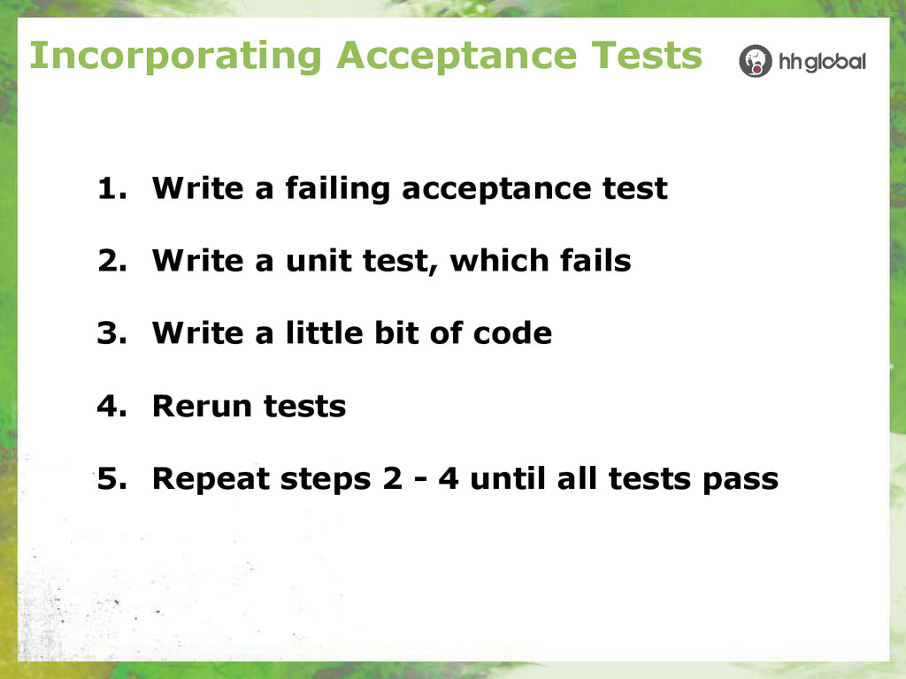 Incorporating Acceptance Tests 1. Write a faili...