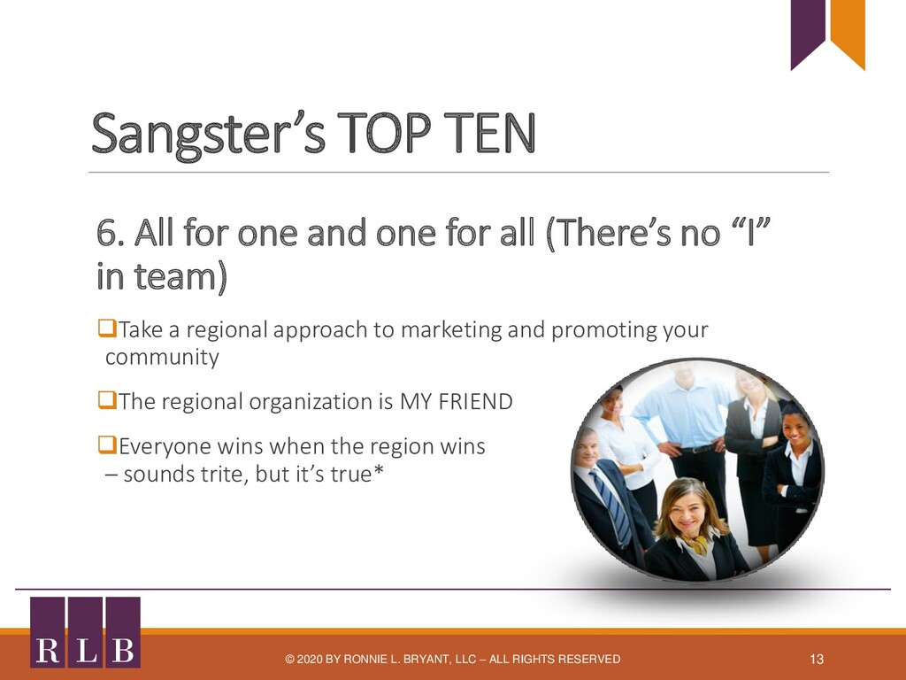 Sangster's TOP TEN 6. All for one and one for a...