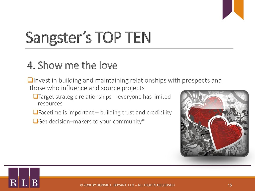 Sangster's TOP TEN 4. Show me the love ❑Invest ...