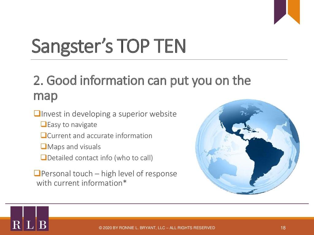 Sangster's TOP TEN 2. Good information can put ...