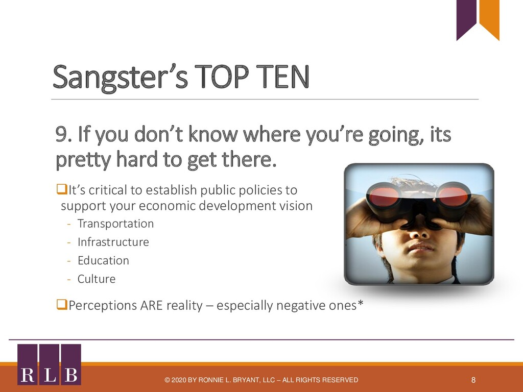 Sangster's TOP TEN 9. If you don't know where y...