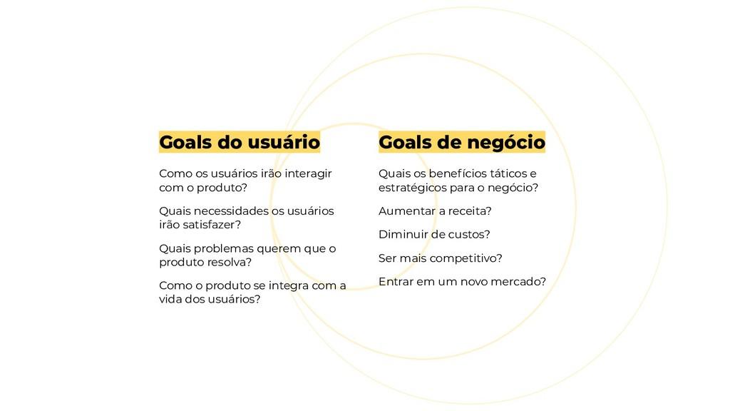 Goals de negócio Quais os benefícios táticos e ...