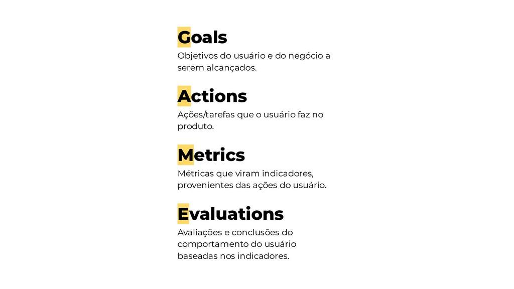 Goals Objetivos do usuário e do negócio a serem...