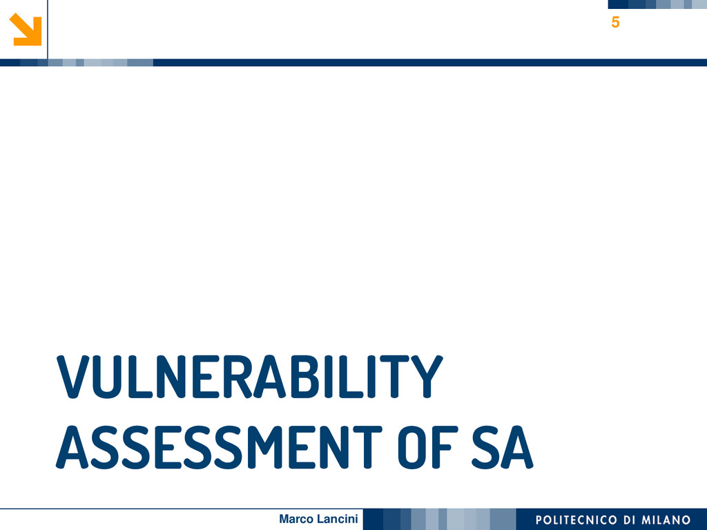 Marco Lancini VULNERABILITY ASSESSMENT OF SA 5