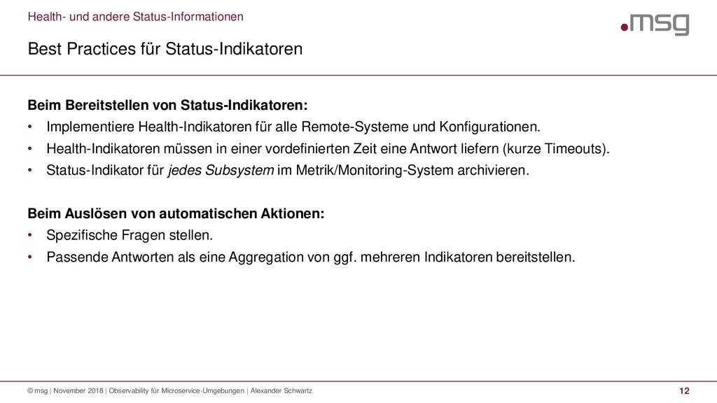Health- und andere Status-Informationen Best Pr...