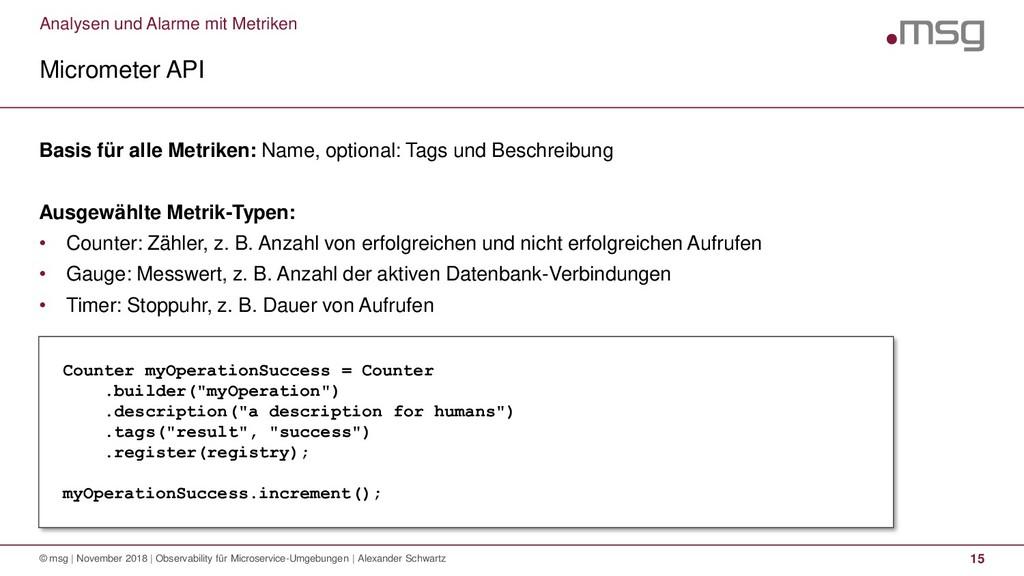 Analysen und Alarme mit Metriken Micrometer API...