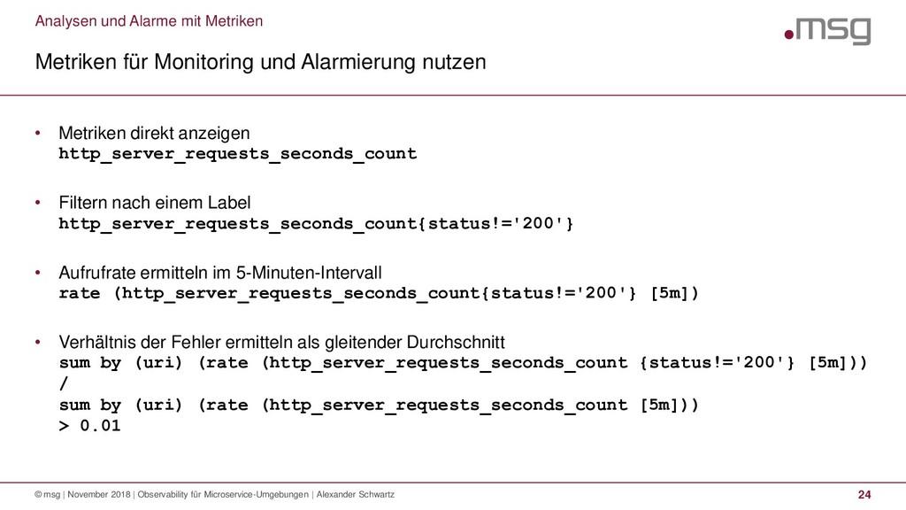 Analysen und Alarme mit Metriken Metriken für M...