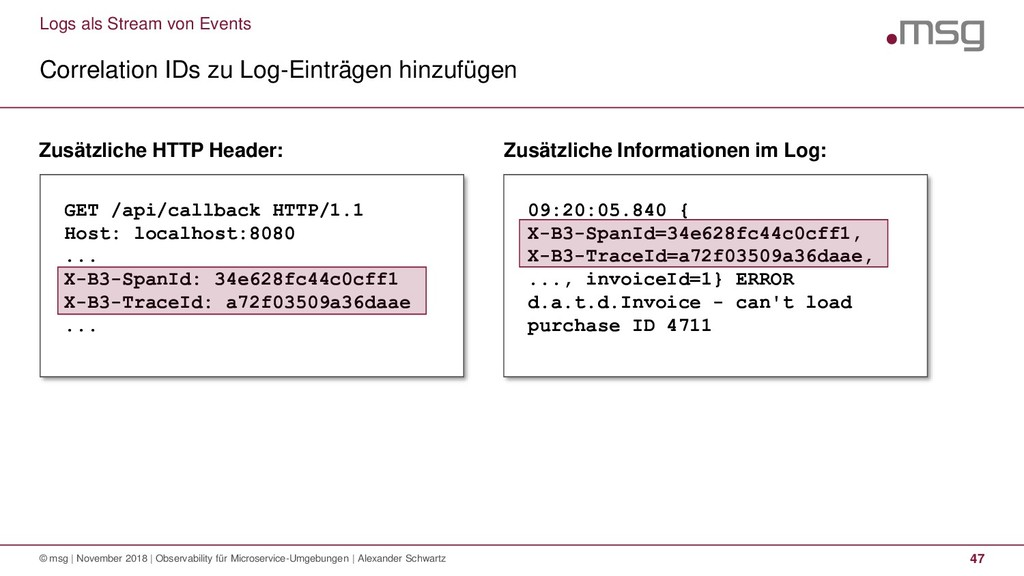 Logs als Stream von Events Correlation IDs zu L...