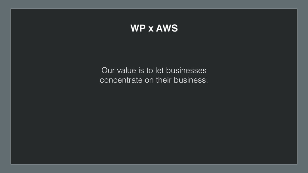 WP x AWS Our value is to let businesses concent...