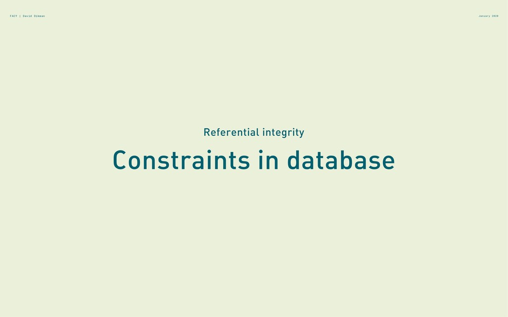 Constraints in database January 2020 Referentia...