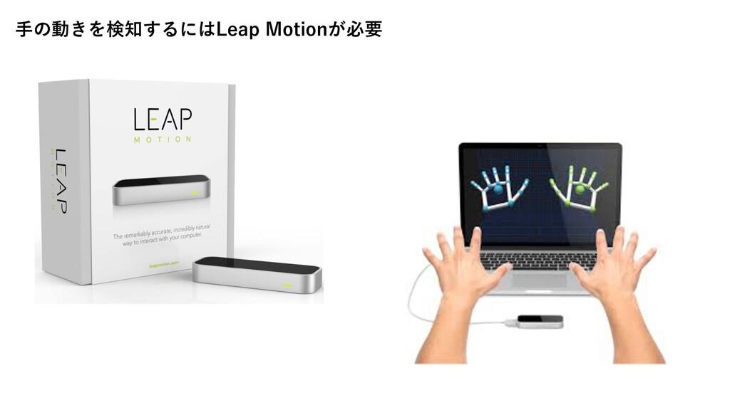 ⼿の動きを検知するにはLeap Motionが必要