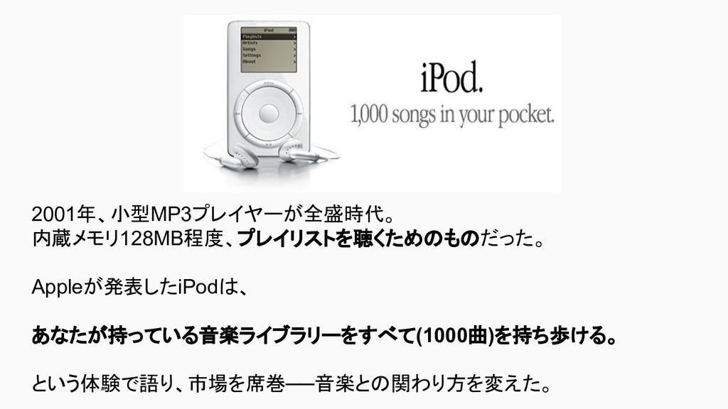 2001年、小型MP3プレイヤーが全盛時代。 内蔵メモリ128MB程度、プレイリストを聴くため...