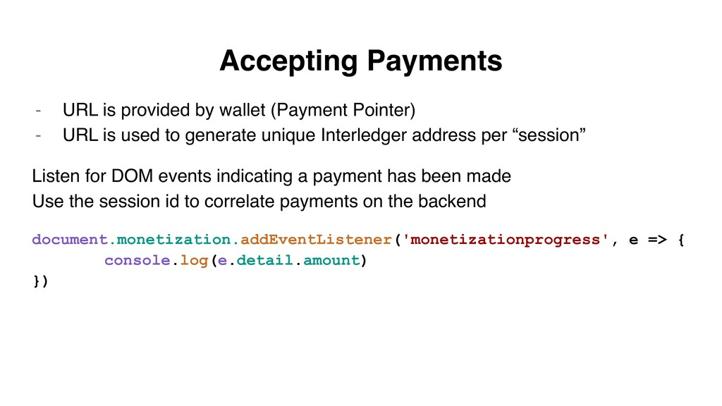 Accepting Payments - URL is provided by wallet ...