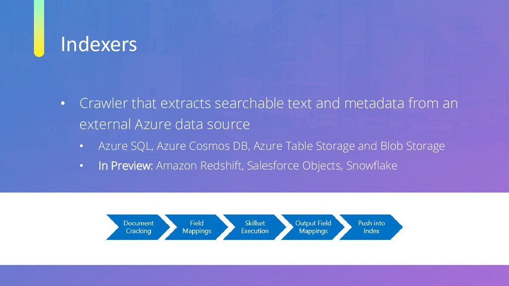 Indexers • Crawler that extracts searchable tex...