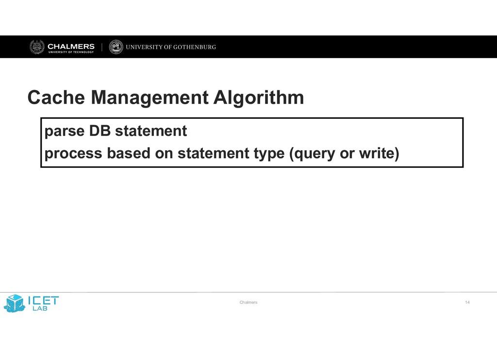 Chalmers !14 Cache Management Algorithm parse D...
