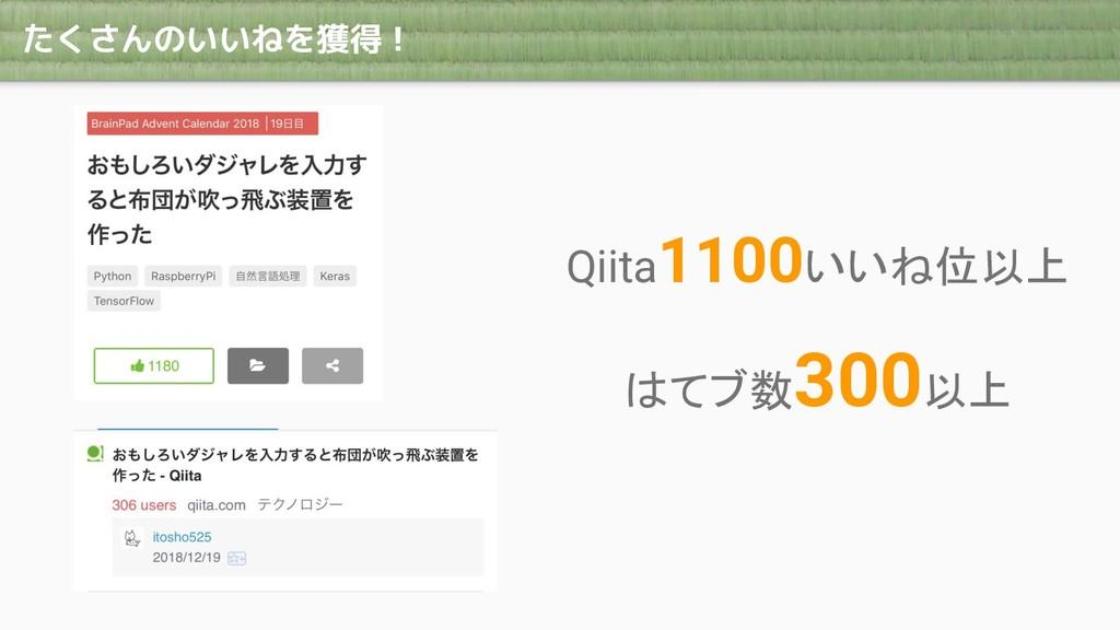 たくさんのいいねを獲得! Qiita1100いいね位以上 はてブ数300以上