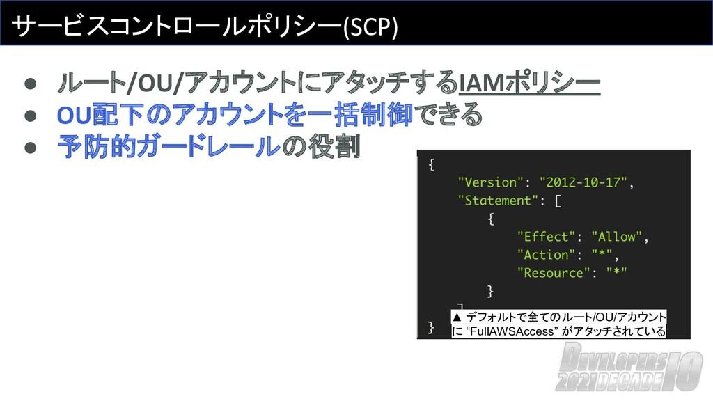 サービスコントロールポリシー(SCP) ● ルート/OU/アカウントにアタッチするIAMポリシ...