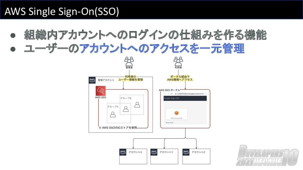 AWS Single Sign-On(SSO) ● 組織内アカウントへのログインの仕組みを作る...