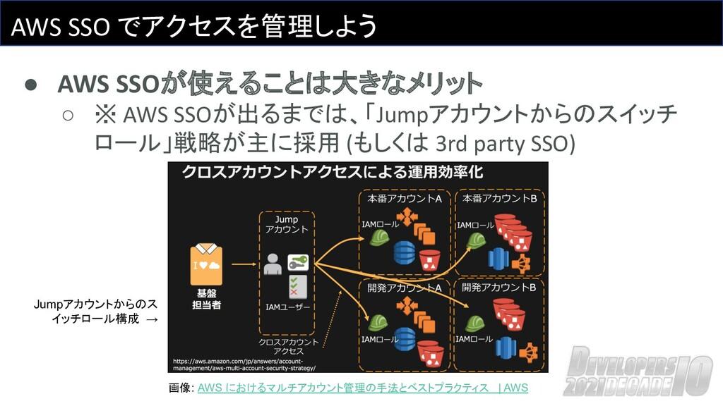 AWS SSO でアクセスを管理しよう ● AWS SSOが使えることは大きなメリット ○ ※...