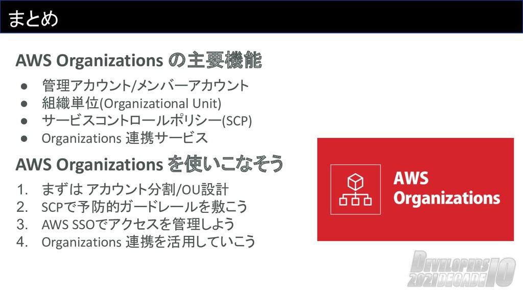 まとめ AWS Organizations の主要機能 ● 管理アカウント/メンバーアカウント...
