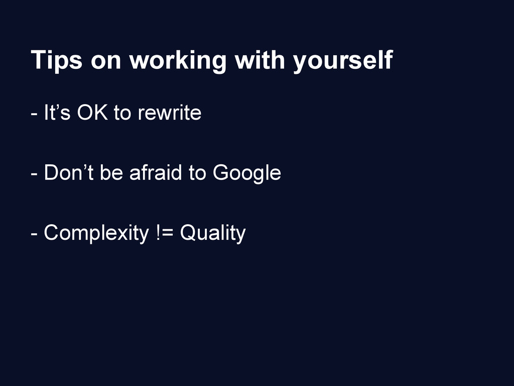 Tips on working with yourself - It's OK to rewr...