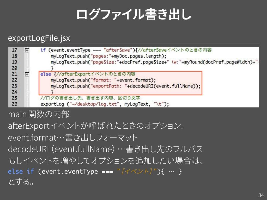 34 exportLogFile.jsx main関数の内部 afterExportイベン ト...