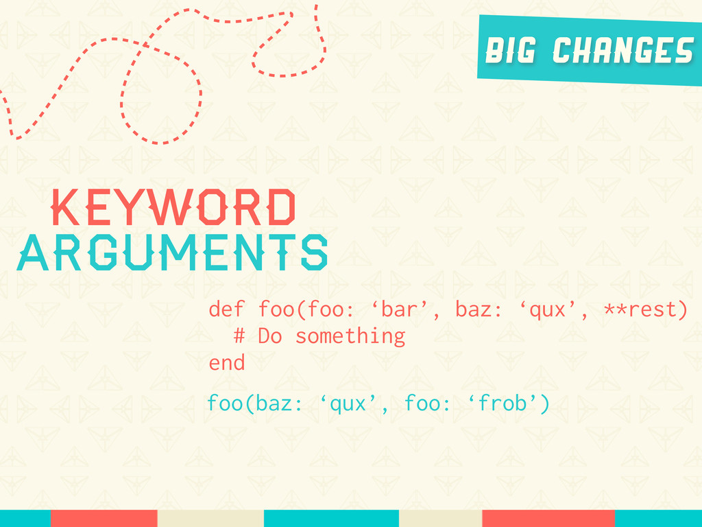 Keyword Arguments def foo(foo: 'bar', baz: 'qux...