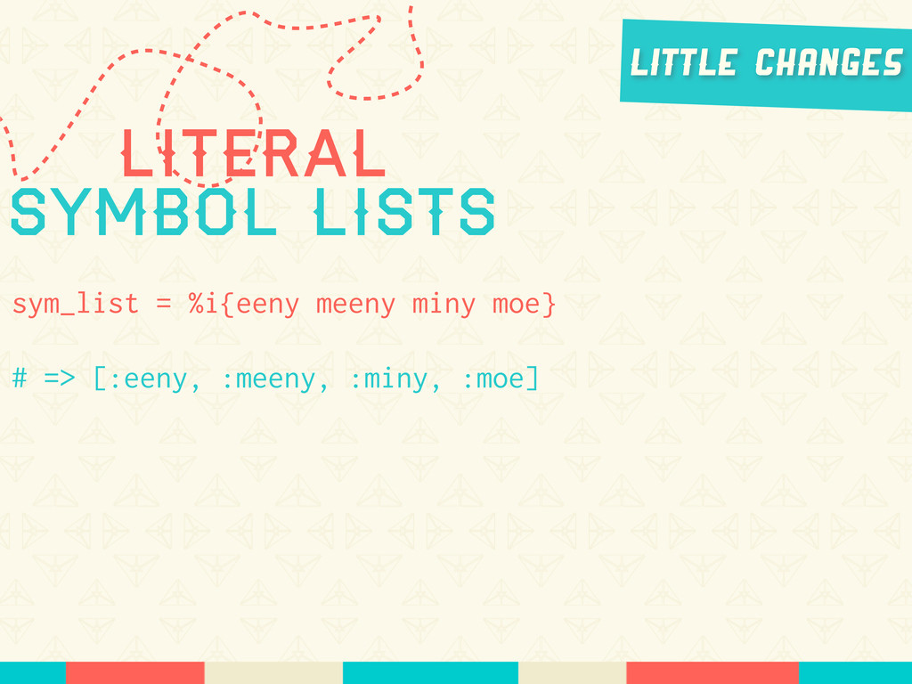 Literal Symbol lists sym_list = %i{eeny meeny m...