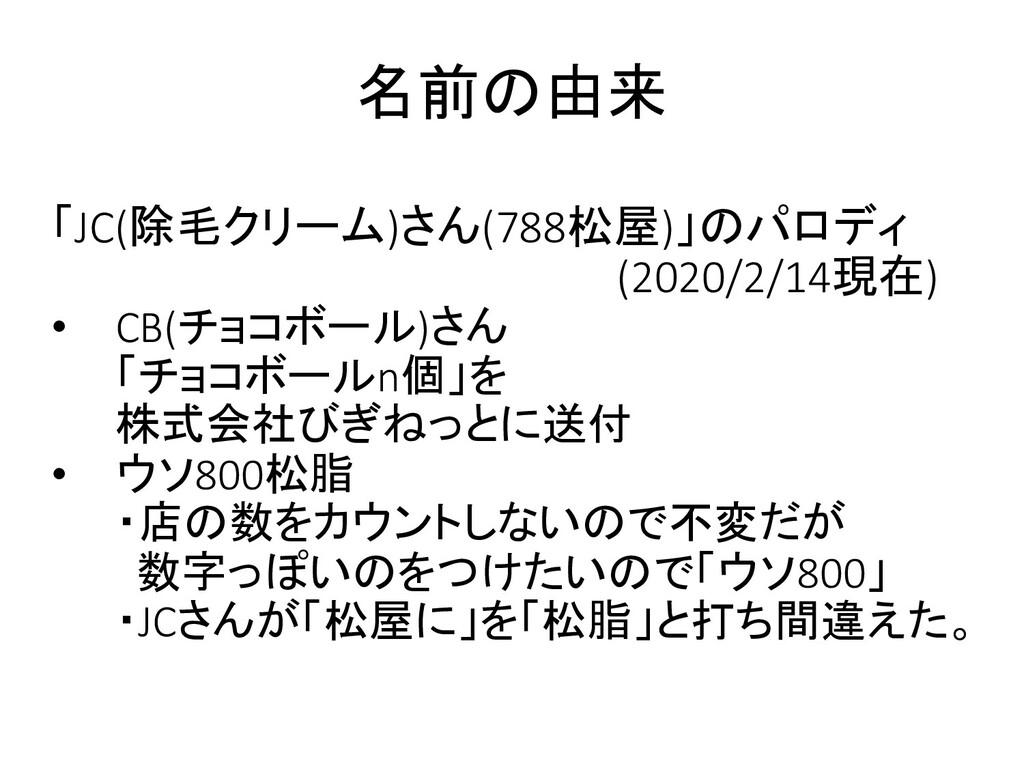 「JC(除毛クリーム)さん(788松屋)」のパロディ (2020/2/14現在) • CB(チ...