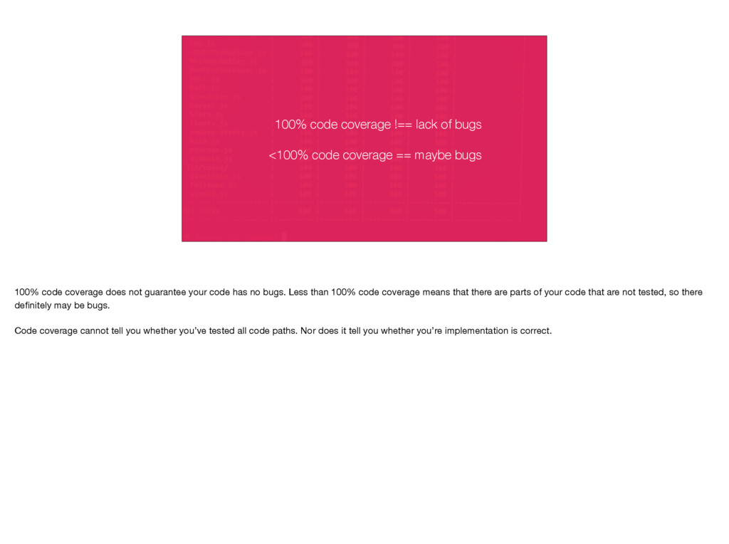 100% code coverage !== lack of bugs <100% code ...